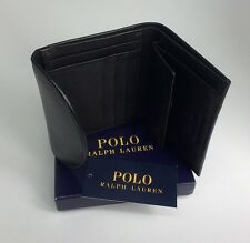 POLO RALPH LAUREN TRI FOLD BLACK LEATHER COIN NOTE WALLET