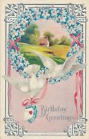 BIRTHDAY – Doves, Wreath and Country Scene - 1910