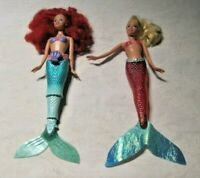 Disney Little Mermaid Lot ~ Bathtime Mermaid Barbie Dolls Arista & Ariel Wind-up