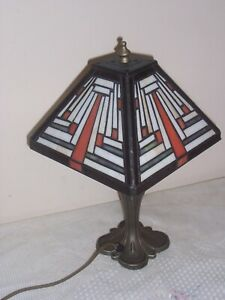 vintage tiffany style table lamp glass shade art nouveau style  99p no reserve