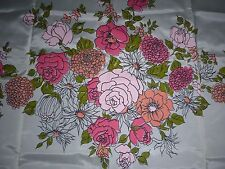 Vtg Sears Pink Salmon Green Floral Shower Curtain Never Used Roses Zinnias Daisy
