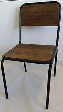 NEW FRENCH INDUSTRIAL RETRO VINTAGE METAL WOODEN SCHOOL CHAIR DINING - BLACK
