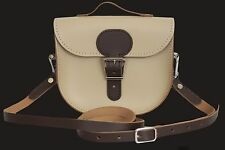 BRIT STITCH Womens Half Pint Cross Body Bag Leather Coffee Cream
