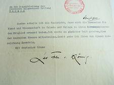 Maler Leo von KÖNIG (1871-1944): Sign. Brief BERLIN 1942 an DAZ