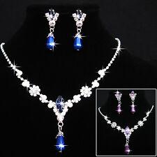 Bridal Wedding Party Rhinestone Necklace Water Drop Earrings Jewelry Set Steady
