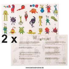 2 x Monster Tattoo Karte - 42 bunte Haut Motive für Kinder Fasching Party (2)