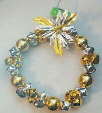 "Jingle Bell Wreath 9"" Hanging Decor Silver Gold Poinsettia Christmas Holiday"