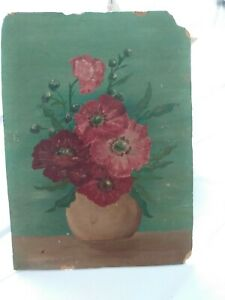VICTORIAN OIL ON BOARD RED FLOWERS POPPIES HANDPAINTED GEM as FOUND