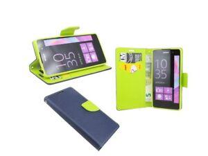 Book-Style Handy Hülle Etui Tasche Cover in Blau-Grün für Sony Xperia E5 @COFI