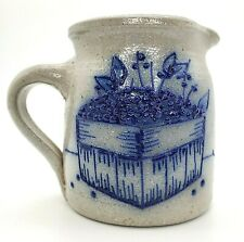 "Salmon Falls Stoneware Pitcher 1992 Cobalt Blueberry Basket 4 1/4"" T EUC Pottery"