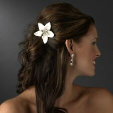 Ivory Starfish Orchid Bridal Hair Comb w Crystals and Pearls