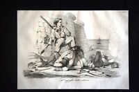 Incisione d'allegoria e satira La lotta della gente di Ancona Don Pirlone 1851