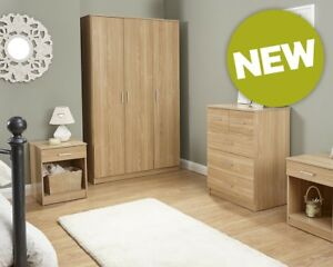 NEW Contemporary Oak 4 Piece Bedroom Set Wardrobe, Chest & 2x Lamp Tables