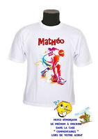 tee shirt enfant basket joueur personnalisable prénom au choix réf 120