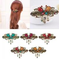 Fashion Retro Rhinestone Vintage Crystal Butterfly Flower Hair Clip Hairpins