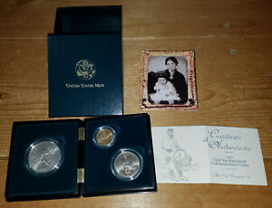 US Mint 1995 Civil War Battlefield 3 Coin Commemorative Photo Case & Certificate