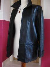 Ladies M&S black leather ZIP JACKET COAT UK 18 16 short red lining harrington