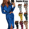 Women Sexy Bodycon V Neck Midi Dress Sequins Evening Club Cocktail Party Dresses