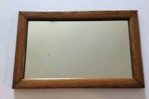 "Antique Rectangle Oak Framed Mirror Mission Style 19.5"" x 12.5"""