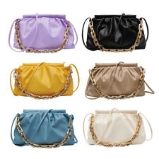 Women Pleated Shoulder Bag Chain Totes PU Female Cloud Messenger Handbag