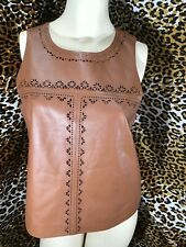 White House Black Market Leather Vest Women's 8 Brown Zip Up Back
