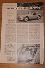 Daimler V8 SP250 Sports Factory Reprinted Road Test 1960