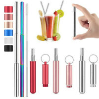 Reusable Collapsible Foldable Stainless Steel Metal Drinking Straw + Clear Brush