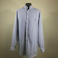MENS RALPH LAUREN CLASSIC FIT BLUE WHITE STRIPE BUTTON DOWN LONG SLEEVE SZ 4XLT