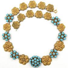 Fishel Nessler Deco Gold Floral Roundels Turquoise Clusters Choker Necklace