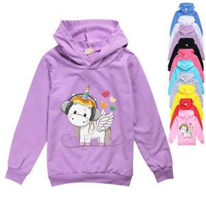 Unicorn Jungen Mädchen Kapuzenpullover Langarm Hoodie Pulli Kinder Sweatshirts