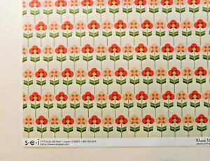 Pansies Scrapbook Paper 1 Page 12x12 Floral Dots Pink Double Sided Cardstock SEI