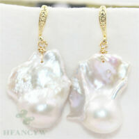 18-25mm white Baroque Pearl Earrings 18k hook Mesmerizing Cultured Flawless