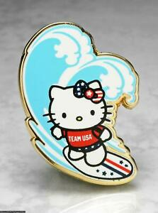 OLYMPIC PINS BADGE 2020 2021 TOKYO JAPAN HELLO KITTY TEAM USA USOC CAT SURFER