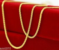 "New Pure Au750 18K Yellow Gold Necklace Perfect Wheat Chain Necklace1.7g  17.7""L"