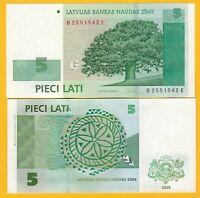 Latvia 5 Lati p-53c 2009 UNC Banknote