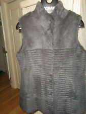 * Price Cut* Sherry Cassin Tiered Rabbit Fur Vest In Charcoal Grey - Size Large
