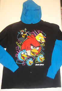 Boys Angry Birds Blue & Black Two-Tone Long Sleeve Hoodie Shirt  8, 14-16, 18