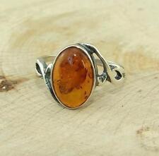 Cognac Baltic Amber 925 Silver Ring UK Size O-US 7 1/4
