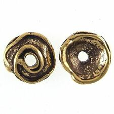 19mm Swirl Bead Caps 3mm Hole Gold Plated #257 (2) Greek Cast
