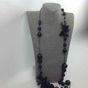 Necklace FCUK Long Black Large Beads Gunmetal Grey Tone Chain Chiffon Trim #N27