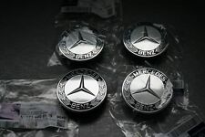4x Genuine Mercedes Benz Alloy Wheel Centre Cap Silver/Black A17140001259040