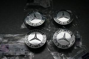 4x Genuine Mercedes Benz Alloy Wheel Centre Cap Silver/Black A17140001259040