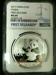 NGC MS69-China 2017 Panda-First Releases Silver 10 Yuan Almost Perfect GEMBU