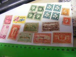 NEW ZEALAND....Lot of 19 used stamps including SCARCE Geyser Pound,etc.