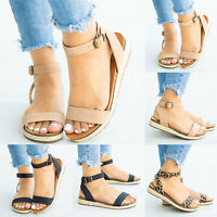 Womens Flat Wedge Peep Toe Summer Sandals Ladies Slip On Ankle Strap Shoes Size