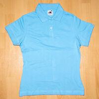 Fruit of the Loom Poloshirt Lady-Fit kurz S hellblau Shirt Damen Polo Shirt Hemd