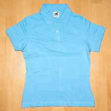 Fruit of the Loom Poloshirt Lady-Fit kurz XS hellblau Shirt Damen Polo Shirt NEU