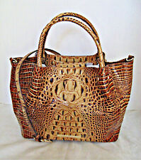 Brahmin Toasted Melbourne Croco Leather SM Mallory Satchel Tote Purse