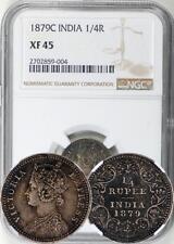 British India 1879 Quarter 1/4 Rupee NGC XF-45