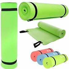 YOGA MAT EXERCISE FITNESS AEROBIC GYM PILATES CAMPING NON SLIP 6mm THICK